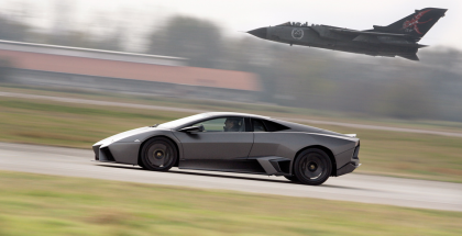 lamborghini races fighter plane